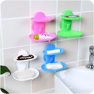 Wall Suction Cup 2 Layers Soap Holder Mount Rack Bathroom Toilet Organizer