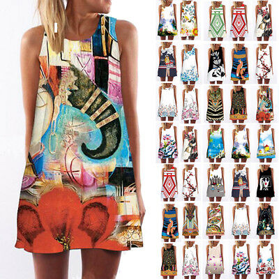 Women Girl Tank Top Mini Dress Floral Summer Casual Prom Party Loose Tunic Shirt