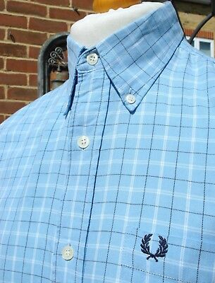 Fred Perry Utility Blue Check Shirt - M/L - Ska Mod Scooter Casuals Vintage