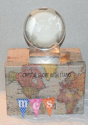 Oleg Cassini Clear Crystal Globe With Stand #138961Mx New In Box Free Shipping