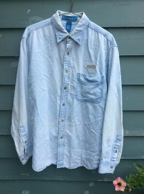 Harvard Square Cotton acid washed light denim  Button Down Shirt mlb logo size M