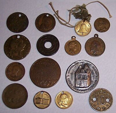15 different, mixed tokens, medals, coins