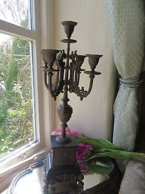 Glorious Antique French Five Branch Black Marble Candelabra ~   C.1900