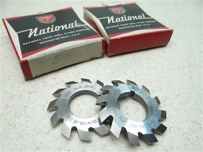 "Nice! Pair Of National Hss Double Angle Milling Cutters 20° Pa W/ 7/8"" Bores"