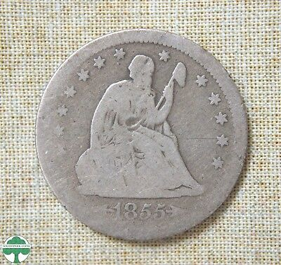 1855 Seated Liberty Quarter - About Good Details