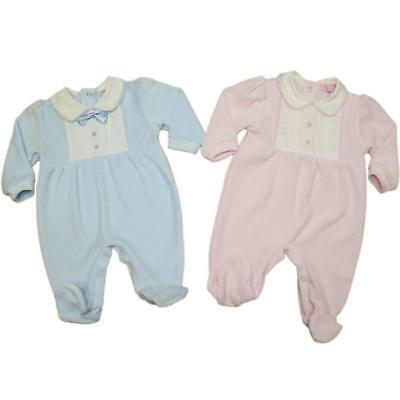 Baby Boy Girl  Spanish Romany Style  Sleepsuit pink blue velour Newborn - 3-6 m