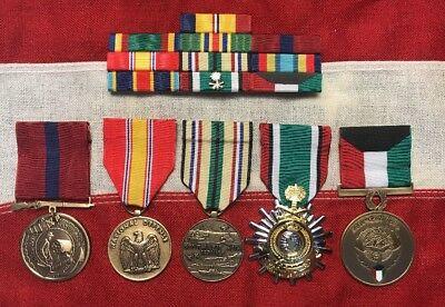 Marine Corps 10 Ribbon & 5 Medals - Gulf War Southwest Asia Service Set USMC