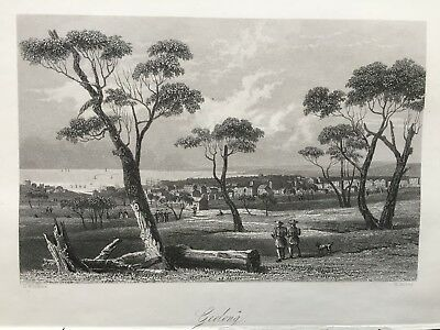 1855 Antique Print; A View of Geelong, Victoria, Australia.