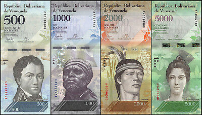 Venezuela 500 - 5,000 (5000) Bolivares 4 Pieces (PCS) Set, 2016, P-NEW, USED