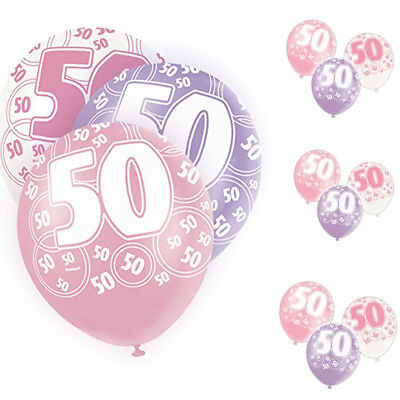 Age 50th Birthday Balloons, Pack of 6 ,Glitz Pink,Size 12 Inch ,2 Pc Each Colour