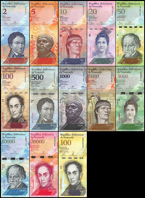 Venezuela 2-100,000 Bolivares  13 Pieces (PCS) Full Set, 2013-2017, P-NEW, USED