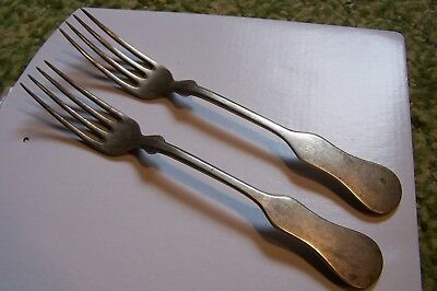 Antique PAIR Silver Plate Forks Pattern TIPPED Flatware Fiddle Forks 2 pc.