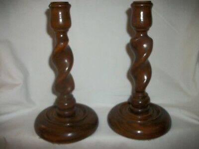 Two Vintage Wooden Barley Twist Candlesticks ( See Photo's)