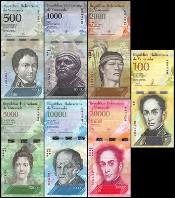 Venezuela 2 - 100 Bolivares  6 Pieces (PCS) Full Set, 2012-2016, P-88-93, USED