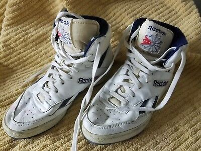 970285e0ef5 Vintage Reebok Classic 80s 90s High Top Shoes White Black Men s USA Size 10