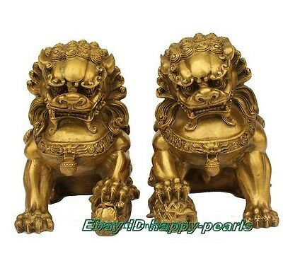 """Large Pair Bronze Chinese Lion Foo Dog Statue Figure Sculpture Gold Color 6.5""""H"""