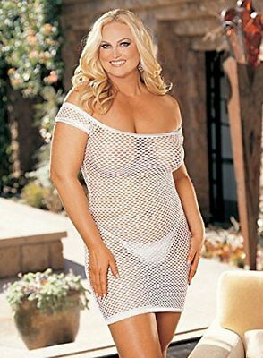 Shirley of Hollywood numero 96896 Queen Size bianco Big Hole Stretch Fishnet Che
