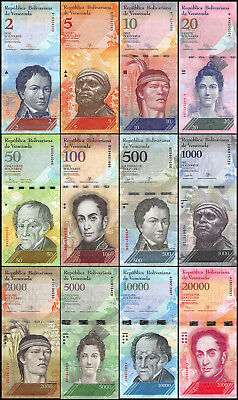 Venezuela 2-20,000 (20000) Bolivares 12 Pieces Full Set, 2014-2017,P-88-NEW,USED