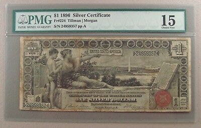 1896 Fr. 224 $1 Educational Silver Certificate PMG Choice Fine 15