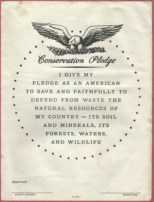 vintage Forest Service CONSERVATION PLEDGE, GPO ca 1955; Soil Watershed Wildlife