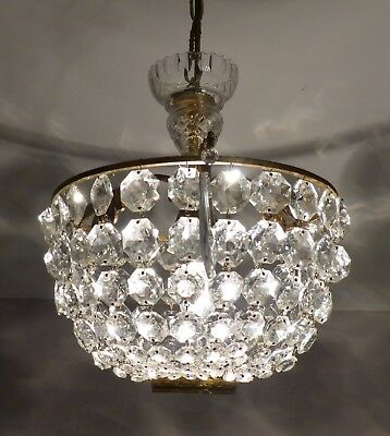 Divine Small Vintage French Crystal Bag Chandelier, Brass, Glass Centre, Rewired
