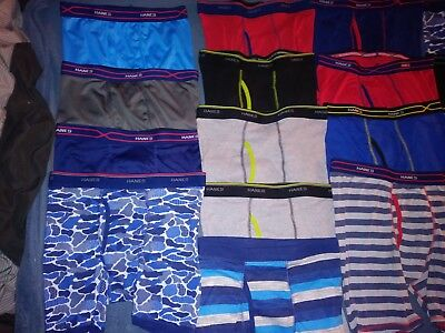 Lot of 17 pair boys boxerbriefs hanes xl etemp in assorted colors great deal