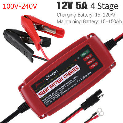 12V 5A Battery Charger Maintainer Trickle Charger for Car Boat Lawn Mower Marine