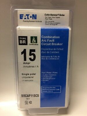 NEW Eaton Cutler Hammer BRCAF115CS Single Pole Type BR Arc Fault Circuit Breaker