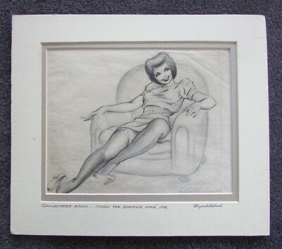 KELLY FREAS DRAWING SIGNED BOMBER NOSE STUDY 1946 s