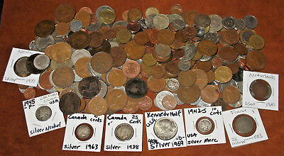 4 POUNDS WORLD COINS WITH VINTAGE COINS & SEVERAL SILVER COINS! 4 LBS LOT! #c9