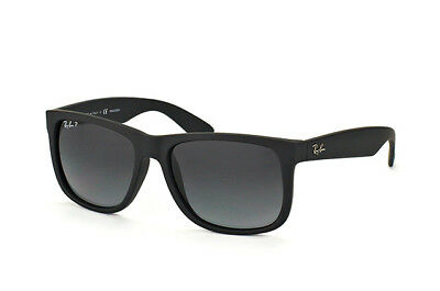 Ray Ban Justin RB4165 622/T3 Black Rubber/Grey Gradient Polarized 55mm Sunglass