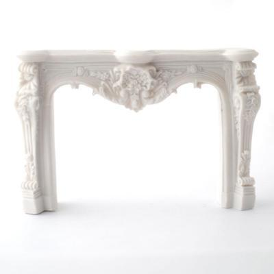 Dollhouse Miniature Large Ornate Fireplace Antique White Resin 1:12