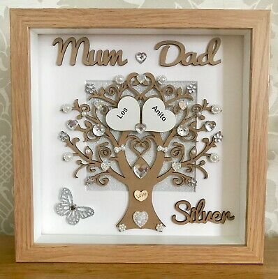 25th Wedding Anniversary Gifts.Personalised Handmade Silver 25th Wedding Anniversary Gift Frame Mum Dad