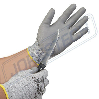 1 Pairs JORESTECH Cut Resistant Level 5 Work Gloves Grey PU Palm Coated