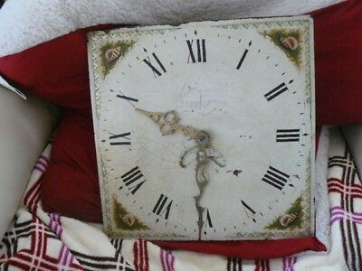 ANTIQUE 30 HOUR LONGCASE MOVEMENT FOR REPAIR OR SPARES 12inch square face