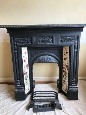 Cast Iron Victorian Style Fireplace Surround With Mantle Piece And Tiles