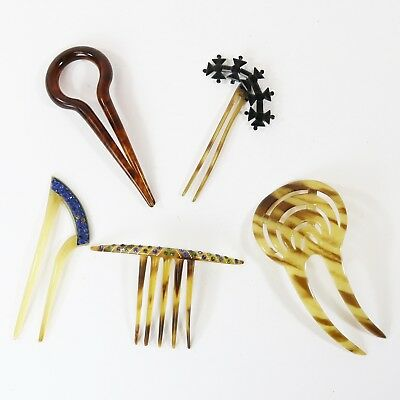 Antique Victorian & Art Nouveau Deco Celluloid Rhinestone Hair Comb Lot of 5