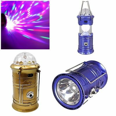 3 in 1 Solar Panel rechargeable outdoor camping Flashlight Lantern lamp & Disco