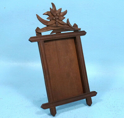 Antique Swiss Black Forest Wood Carving Tabletop PICTURE FRAME Edelweiss c1900