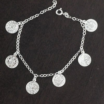 Womens Solid 925 Sterling Silver Saint Benedict Medal San Benito Chain Bracelet