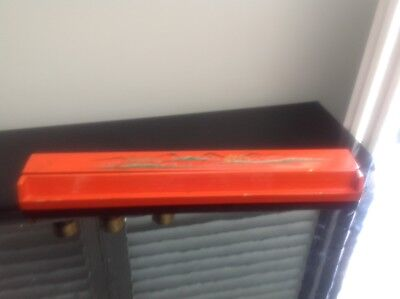 Vintage Orange  lacquer oriental (Japanese)  Crayon/ pencil box .hand Painted