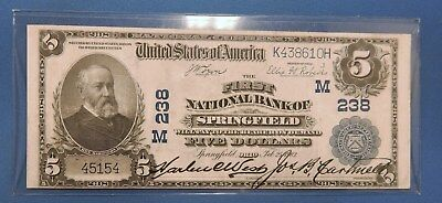 Series 1902 $5 First National Bank Springfield Ohio Charter 238... No Reserve!