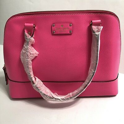Kate Spade LARGE Wellesley Rachelle Purse Bright PINK Leather Satchel Bag NWT