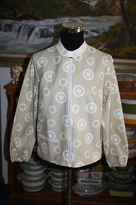 Vintage Koret of California Koratron Jacket 1960s Tan White Targets Polka Dots