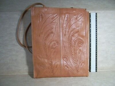 Vintage Hand Tooled Leather Market Bag Made In Paraguay