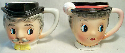 PAIR OF VINTAGE OLD FASHIONED GAY 90s FIGURAL MAN WOMAN MUGS CUPS PY JAPAN 60's