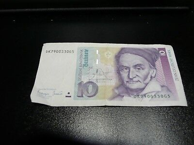 German Mark 10 banknote dated 1993