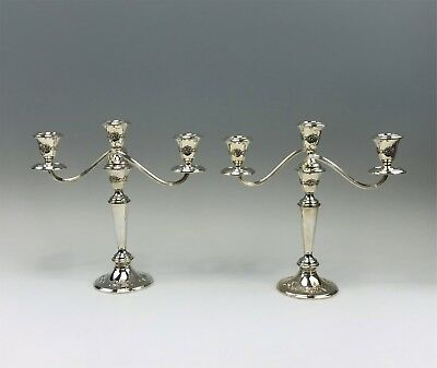 Pair Antique Gorham Sterling Silver 3-Light Candelabra Repousse Florals Weighted