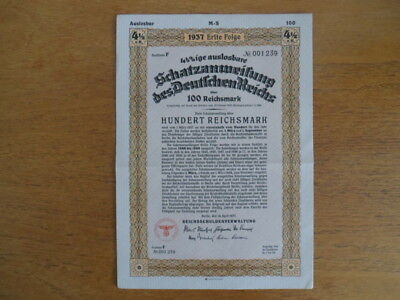 1937-UNCANCELLED- Nazi German Treasury Bond-100 Reichsmark Bond-Swastika Seal