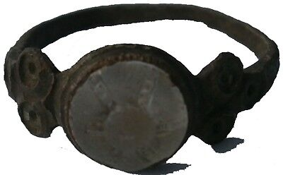 VIKING Antique Ring BRONZE With STONE or Glass MEDIEVAL Period MIDDLES Age EUROP